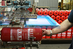 Screen-printing process / extinguishers during production