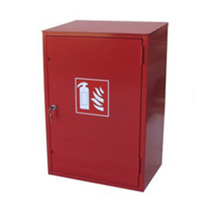 CABINET FOR TWO FIRE EXTINGUISHERS, OUTDOOR, SLOPED ROOF